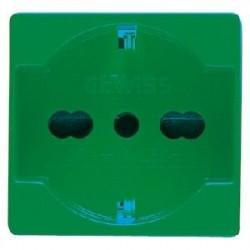 Priza Gewiss GW20282 System - Priza bivalenta standard italian 2PE 16A 2M Verde