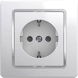 Priza Tem VE10CO-B Ekonomik - Priza simpla cu CP alb cu inel argintiu