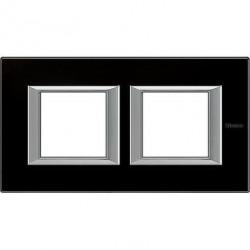Rama Bticino HA4802M2HVNN Axolute - Rama din sticla, rectangulara, 2+2 module, st. german, black glass