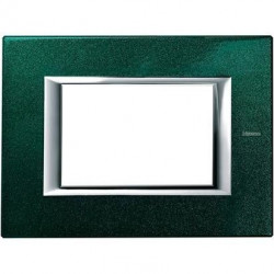 Rama Bticino HA4803VS Axolute - Rama metalica, rectangulara, 3 module, st. italian, green Sèvres