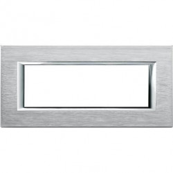 Rama Bticino HA4806CR Axolute - Rama metalica, rectangulara, 6 module, st. italian, brushed chrome