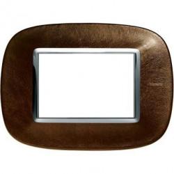 Rama Bticino HB4803SLS Axolute - Rama din piele, eliptica 3 module, st italian, coffee leather