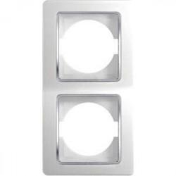 Rama Tem OE21CO-U Ekonomik - Rama dubla verticala alb cu inel argintiu
