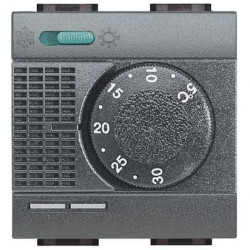 Termostat Bticino L4442FH Living Light - termostat de anbianta cu inversor vara/iarna si sonda incalzire pardoseala, 2M, 2A, negru