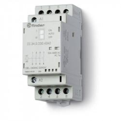 Contactor modular Finder 223402301740 - CONT. MOD., 3 ND + 1 NI, 230V C.A./C.C., 25 A, AGNI; AUTO-ON-OFF