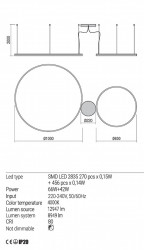 Corp iluminat Redo 01-1923 Orbit - Lustra led, 108W, 4000k, 8949lm, bronz