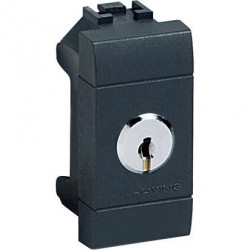Intrerupator Bticino L4022 Living Light - Intrerupator bipolar cap scara cu cheie, 2P, 16A - 250V, 1 modul, negru