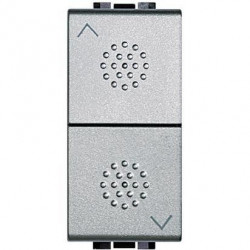 Intrerupator Bticino NT4037 Living Light - Intrerupator cu revenire cu buton dublu cu interblocare, 250V, 10A, 1M, argintiu