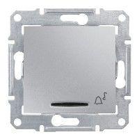 Intrerupator Schneider SDN1700160 Sedna - Intrerupator cu revenire cu simbol sonerie si cu indicator luminos rosu, 10 AX - 12 V, aluminiu