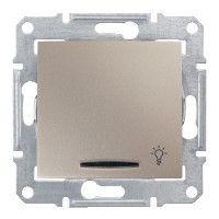 Intrerupator Schneider SDN1800168 Sedna - Intrerupator cu revenire si indicator luminos albastru,10 AX - 250 V, cu simbol lumina, titan