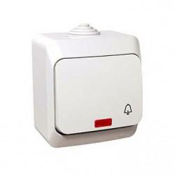 Intrerupator Schneider WDE000515 Cedar - Intrerupator cu revenire, iluminabil, IP44, 16A, alb
