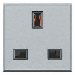 Priza Bticino HC4150 Axolute - Priza standard englezesc, 13A, 250V, 2M, argintiu