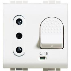 Priza Bticino N4311/10 Living Light - Priza cu disjunctor, 2M, 10A, 3kA, alb