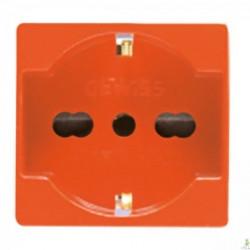 Priza Gewiss GW20287 System - Priza bivalenta standard italian 2PE 16A 2M Portocaliu