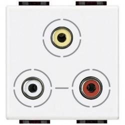 Priza semnal Bticino N4283 Living Light - Conector triplu RCA, 2M, alb