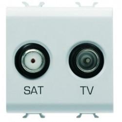 Priza TV Gewiss GW10383 Chorus - Priza TV/SAT de capat, Atenuare 0dB, 2M, Alb