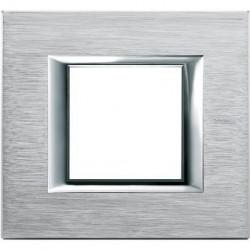 Rama Bticino HA4802CR Axolute - Rama metalica, rectangulara, 2 module, brushed chrome