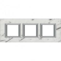 Rama Bticino HA4802M3HRMC Axolute - Rama din piatra, rectangulara, 2+2+2 module, st. german, marmura de carrara
