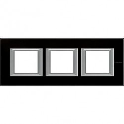 Rama Bticino HA4802M3HVNN Axolute - Rama din sticla, rectangulara, 2+2+2 module, st. german, black glass