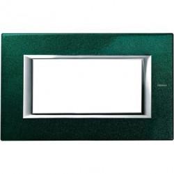 Rama Bticino HA4804VS Axolute - Rama metalica, rectangulara, 4 module, st. italian, green Sèvres
