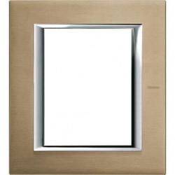 Rama Bticino HA4826NX Axolute - Rama metalica, rectangulara, 3+3 module, st. italian, brushed titanium