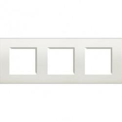 Rama Bticino LNA4802M3BI Living Light - Rama rectangulara din plastic polimerizat, st german, 6(2+2+2) module, dist interax 71mm, alb