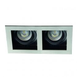 Spot Kanlux 26724 ARET - Spot dublu incastrat, directional GU10, 2x35W, argintiu/negru