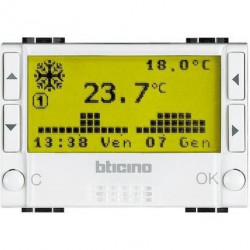 Termostat Bticino N4451 Living Light - Termostat de ambianta cu temporizator, 3M, 2A, alb