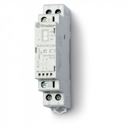 Contactor modular Finder 223200124340 - CONT. MOD., 2 ND, 12V C.A./C.C., 25 A, AGSNO2; AUTO-ON-OFF + + L