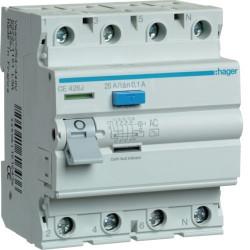 Intrerupator automat Hager CD425J - INTR.DIF. 4P 25A, 30 MA, A