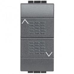Intrerupator Bticino L4037 Living Light - Intrerupator cu revenire cu buton dublu cu interblocare, 250V, 10A, 1M, negru