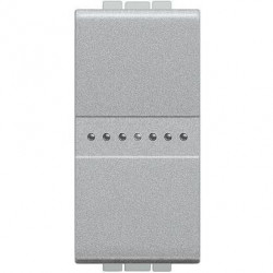 Intrerupator Bticino NT4053A Living Light - Intrerupator cap scara cu comanda axiala 16A - 250V, 1 modul, borne automate, argintiu