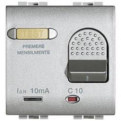 Intrerupator Bticino NT4305/10 Living Light - Intrerupator cu disjunctor, 1M, 10A, 3kA, 230V, argintiu