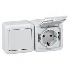 Intrerupator + priza Legrand 782371 Forix - Intrerupator simplu + priza schuko st german IP44, 2P+T, alb