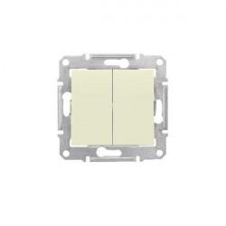 Intrerupator Schnedier SDN0300147 Sedna - Intrerupator dublu, 10 AX - 250 V bej