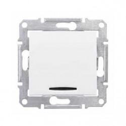 Intrerupator Schneider SDN0400321 Sedna - Intrerupator simplu cu indicator luminos rosu, 10 AX - 250 V, alb