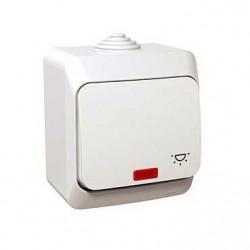Intrerupator Schneider WDE000516 Cedar - Intrerupator cu revenire, iluminabil, IP44, 16A, alb