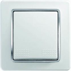 Intrerupator Tem SE70CO-B Ekonomik - Intrerupator cruce alb cu inel argintiu