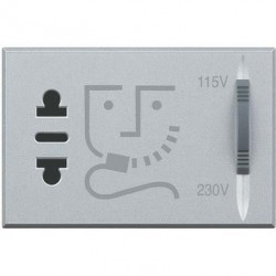 Priza Bticino HC4177 Axolute - Priza aparat ras, 2P, 16A, 250V, 3M, argintiu