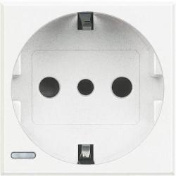 Priza Bticino HD4140 Axolute - Priza standard italian, 2P+T, 16A, 250V, 2M, alb