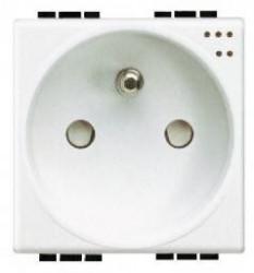 Priza Bticino N4144 Living Light - Priza standard francez cu lumina de ghidare, 2P+N, 16A, 250V, 2M, alb