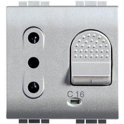 Priza Bticino NT4311/10 Living Light - Priza cu disjunctor, 2M, 10A, 3kA, argintiu