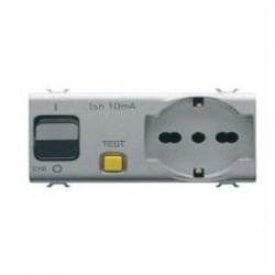 Priza Gewiss GW14322 Chorus - Priza cu intrerupator magneto-termic 4M 1PN 16A P30/17/11TITANIUM
