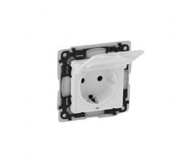 Priza Legrand 753119 Valena Life - Priza schuko 2P+T, protectie si capac, IP44, borne automate, alba