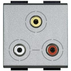 Priza semnal Bticino NT4283 Living Light - Conector triplu RCA 2M, argintiu
