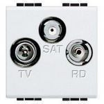Priza TV/RD/SAT Bticino N4210D Living Light - Priza TV+SAT+RD de capat, 2M, alb