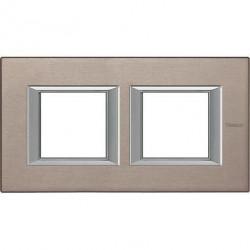 Rama Bticino HA4802M2HNX Axolute - Rama metalica, rectangulara, 2+2 module, st. german, brushed titanium