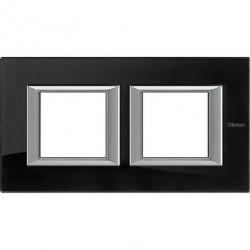 Rama Bticino HA4802M2HVNB Axolute - Rama din sticla, rectangulara, 2+2 module, st. german, nighter