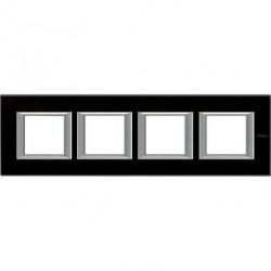 Rama Bticino HA4802M4HVNN Axolute - Rama din sticla, rectangulara, 2+2+2+2 module, st. german, black glass
