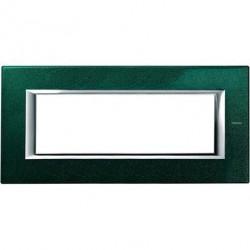 Rama Bticino HA4806VS Axolute - Rama metalica, rectangulara, 6 module, st. italian, green Sèvres